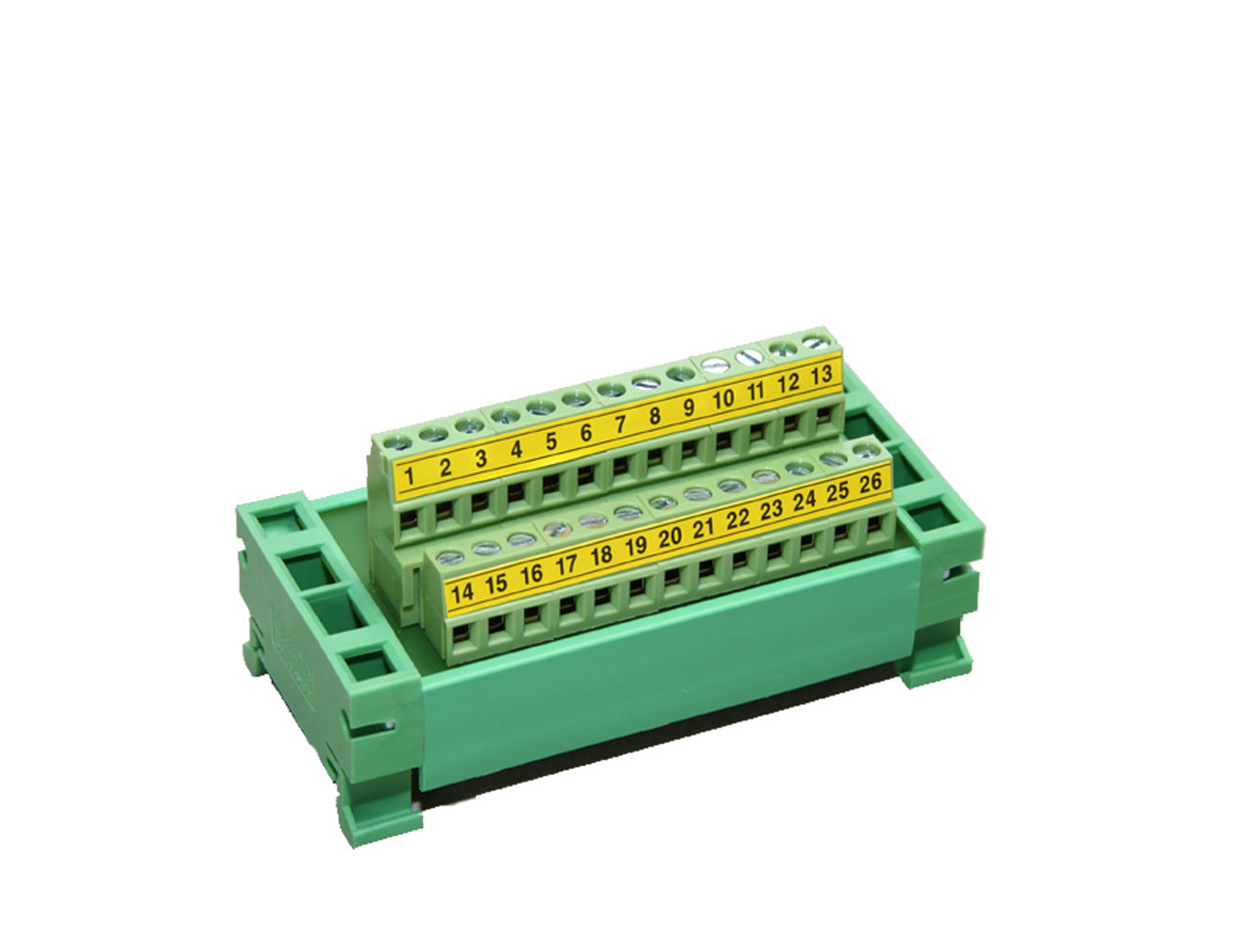 DIN rail connector: DB 25 terminal block + flat cable