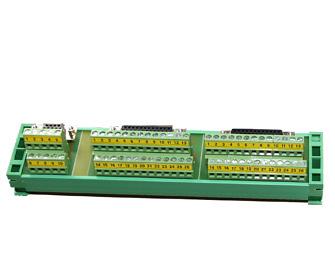 DIN rail connector: DB25+DB25+DB9 terminal block + flat cables