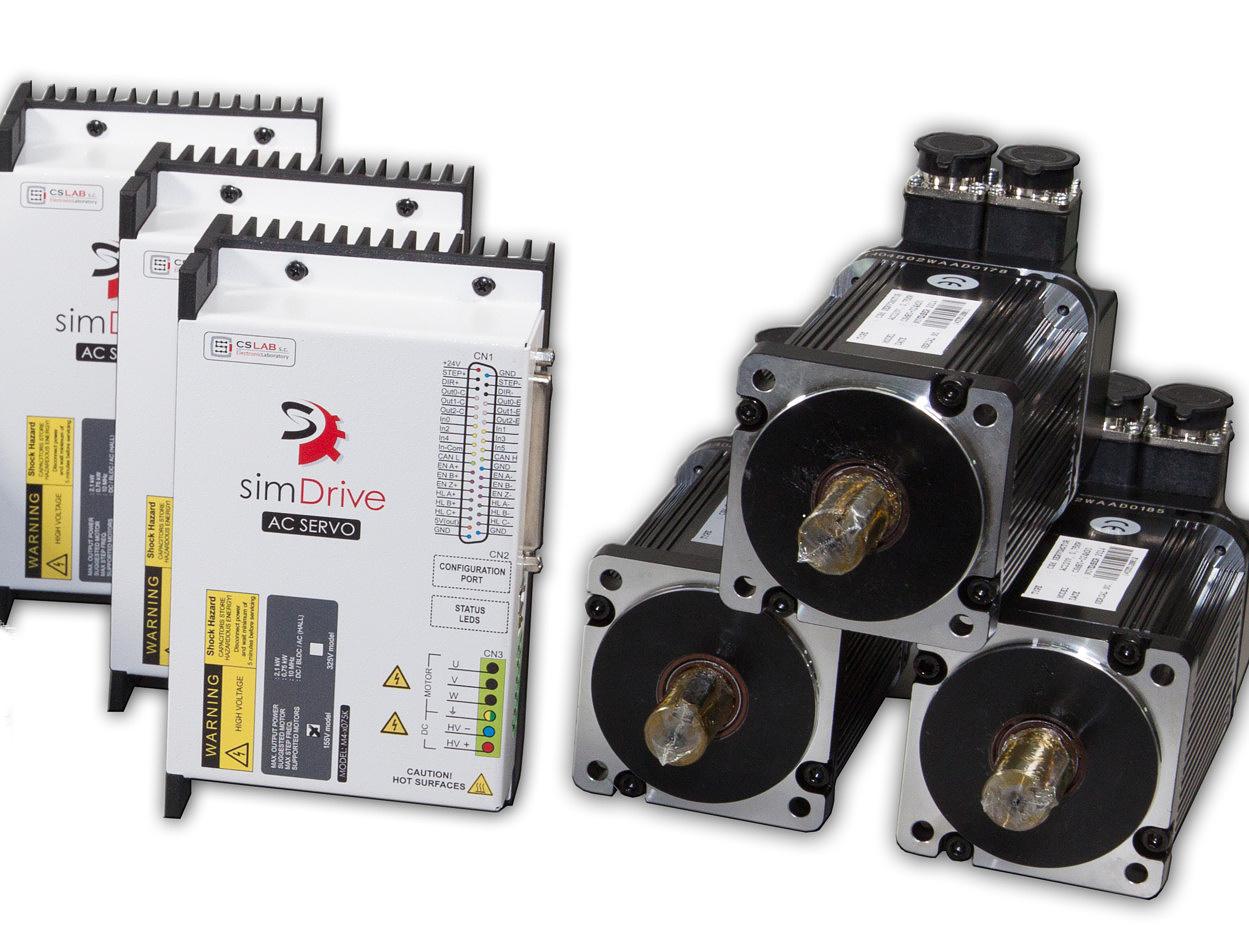 simDrive™ AC Servo System 750W: 3 Axis Drive&Motor Set