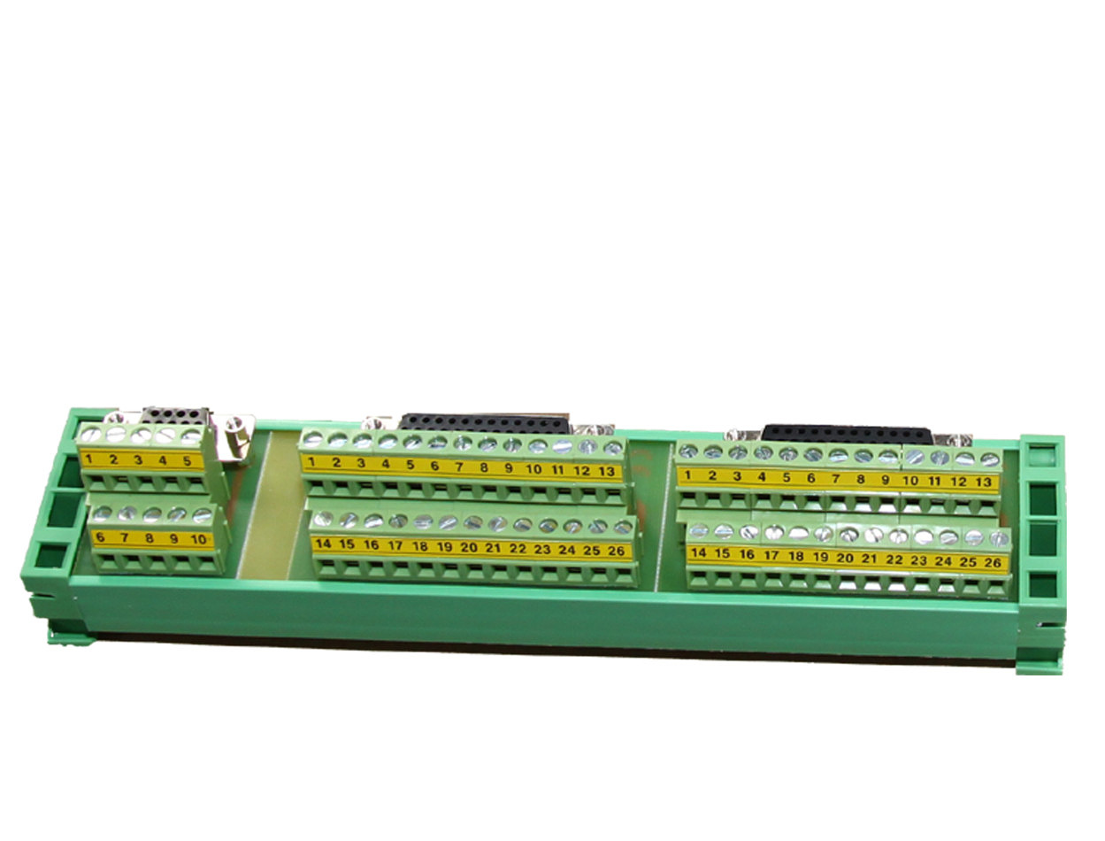 DIN rail connector: DB25+DB25+DB9 terminal block + ribbon wires