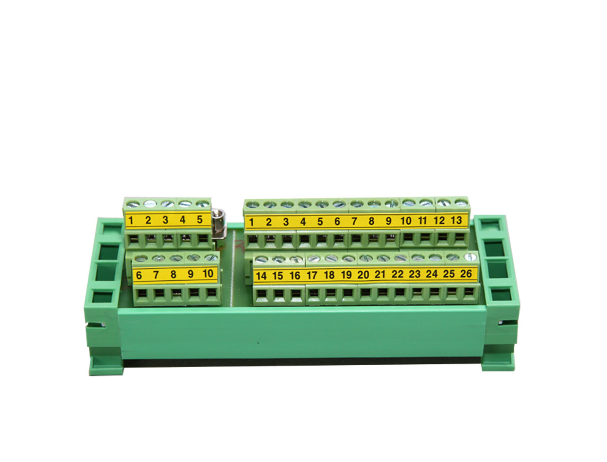 DIN rail connector: DB25 + DB9 terminal block + ribbon wires